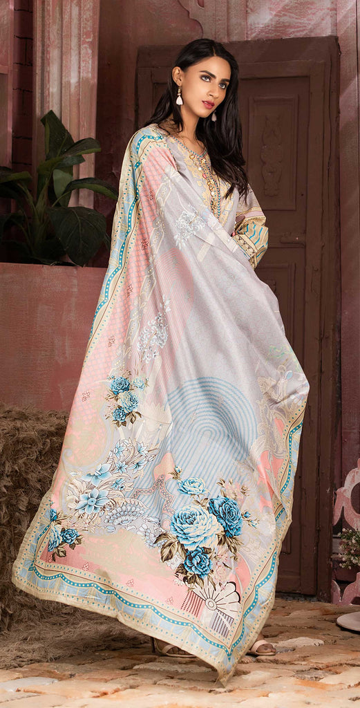 Unstitched 3pc Printed Lawn Shirt with Printed Lawn Dupatta - INAYA (IP-08A)