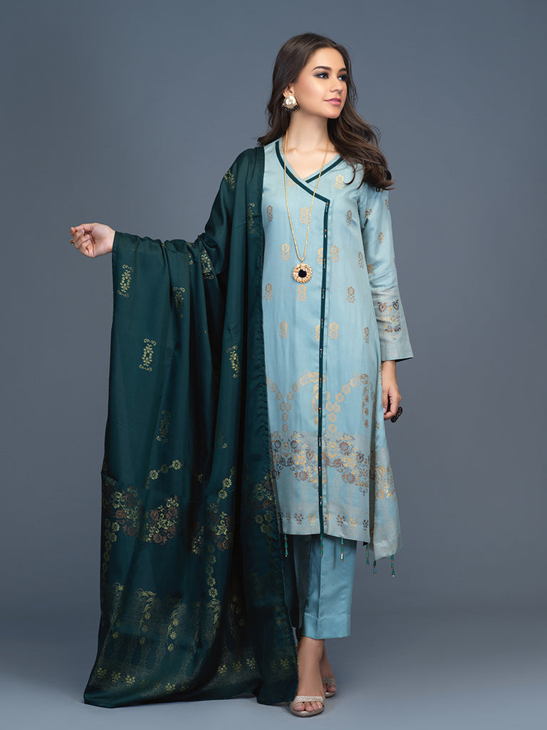 Unstitched 3pc Viscose Jacquard  Shirt and  Dupatta with vicose trouser-  Viscose Jacquard (Rc-00197)