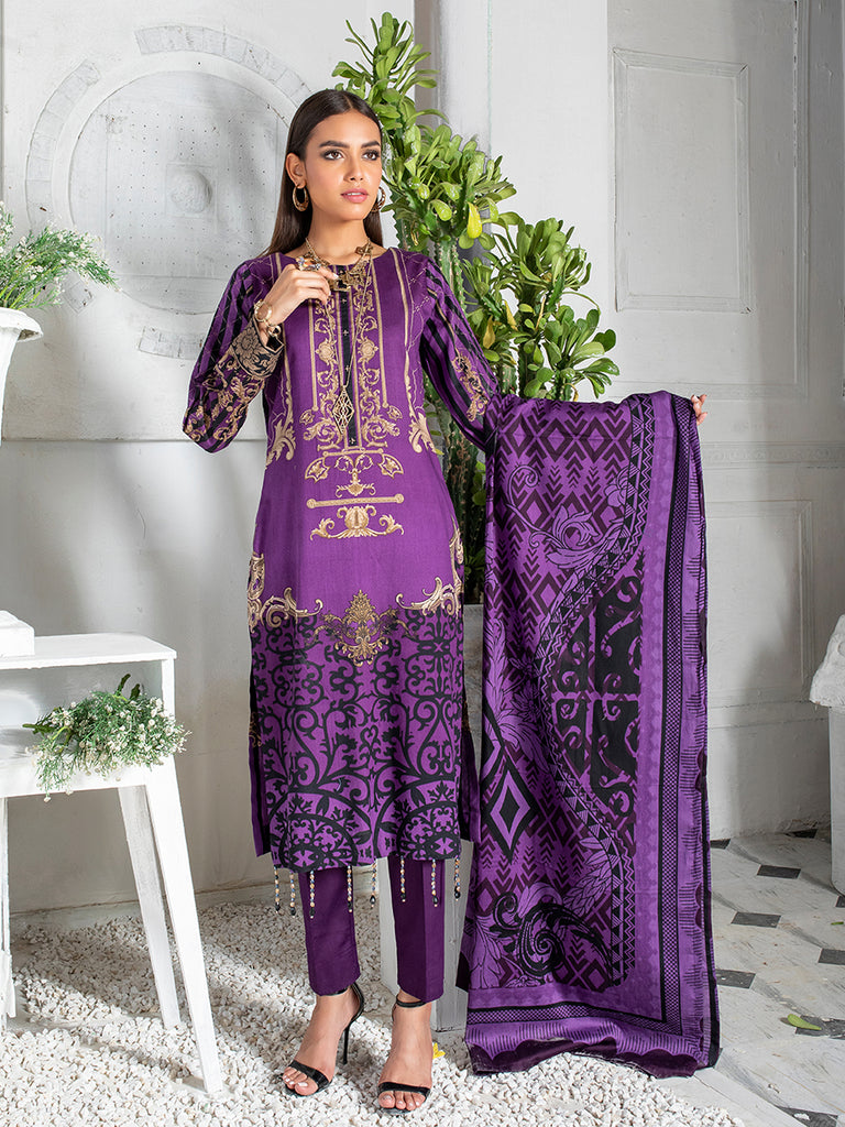 3pc Printed Cambric Shirt with Printed Lawn Dupatta & Cambric Trouser - Inaya (IP-00046B)