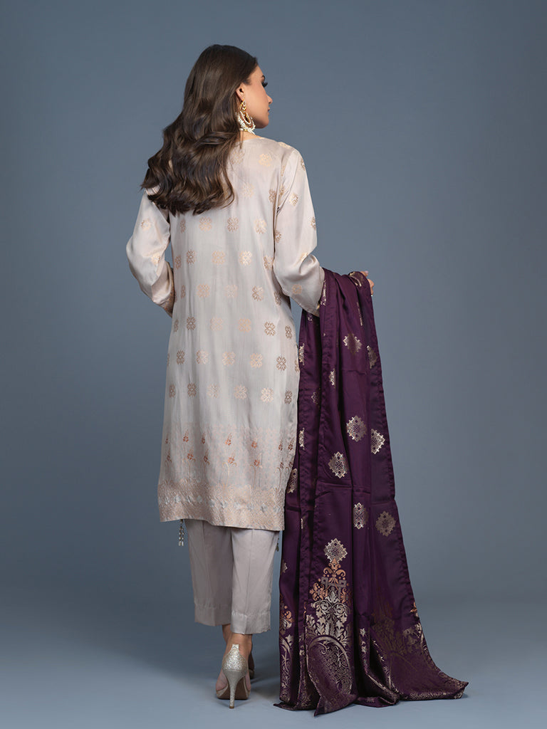 Unstitched 3pc Viscose Jacquard  Shirt and  Dupatta with vicose trouser-  Viscose Jacquard (Rc-00194)