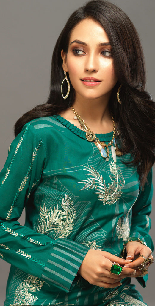 Unstitched 3pc Printed Embroidered Lawn Shirt with Organza Lines Dupatta - Shades (WK-00546A)