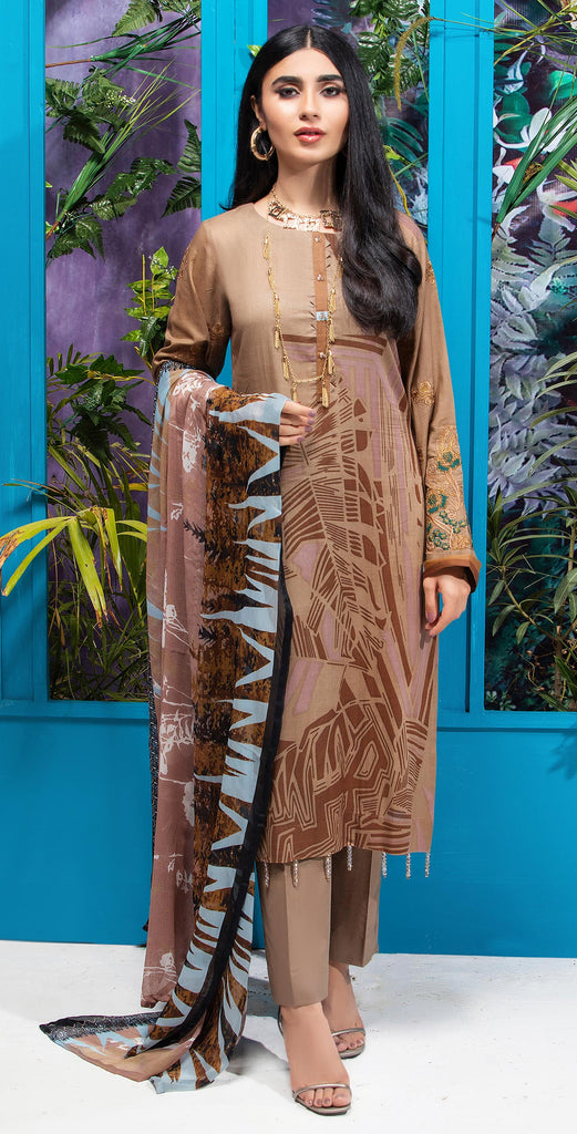 Stitched 3pc Printed Embroidered Lawn Shirt with Printed  Chiffon  Dupatta - Zure  (WK-00524B)