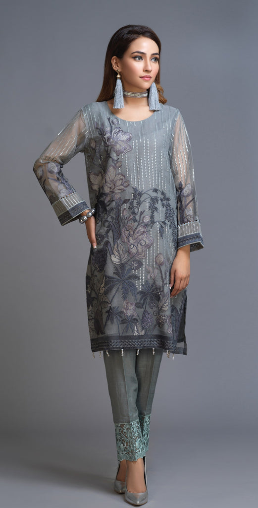 Stitched 2pc Organza Embroidered Shirt & Embroidered Trouser I Luxury Pret (RP-16)