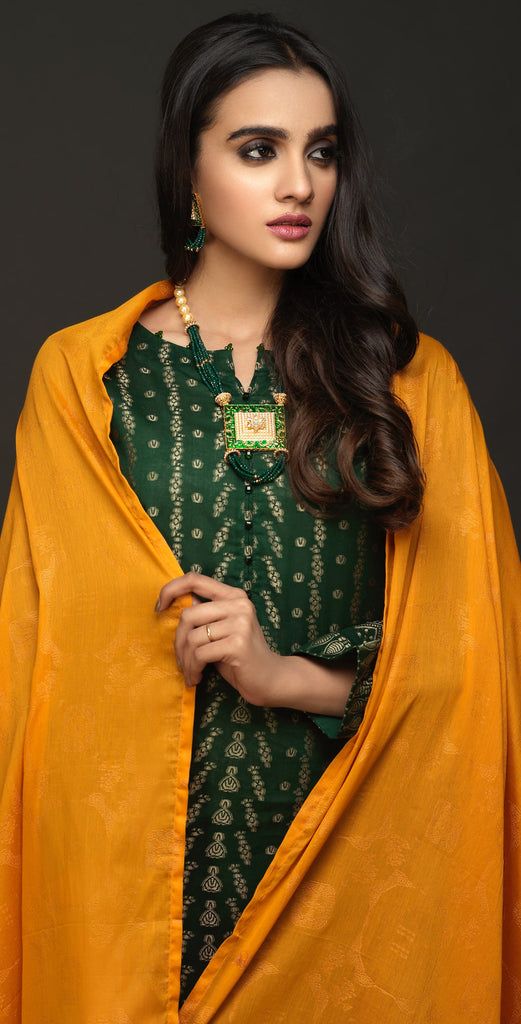 Un-Stitched 3pc Two-Tone Jacquard  Shirt with Jacquard  Dupatta (WK-452)