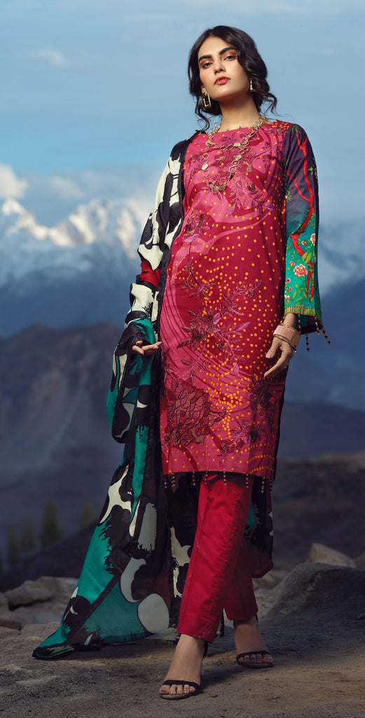 Un-Stitched 3pc Printed Embroidered Cambric Shirt with Wool Net Dupatta (WK-423B)