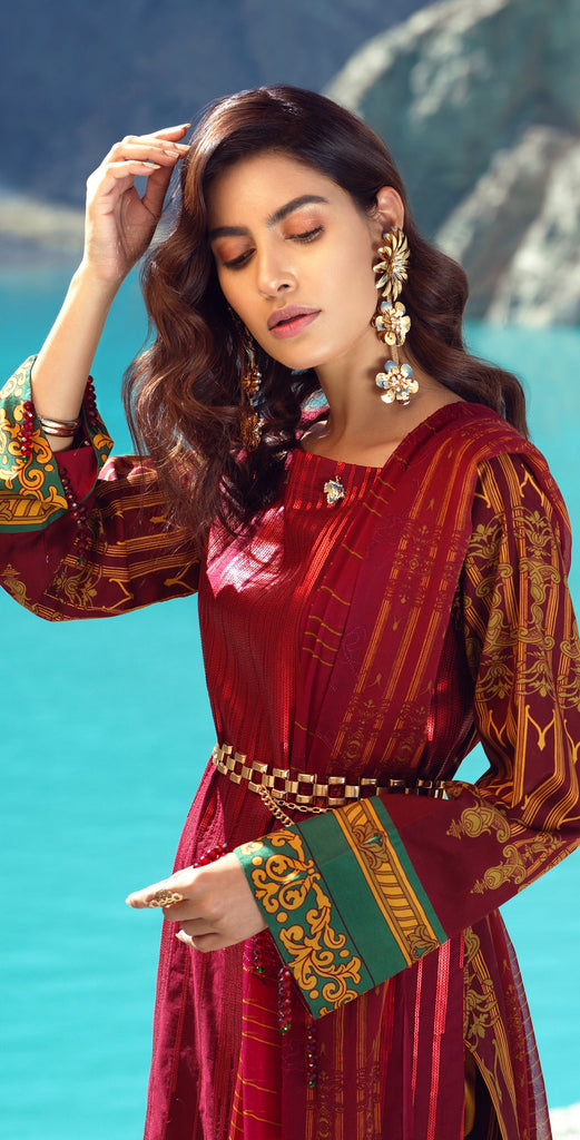 Stitched 3pc Printed Embroidered Cambric  Shirt with Printed & Embroidered Chiffon Dupatta (WK-399B)
