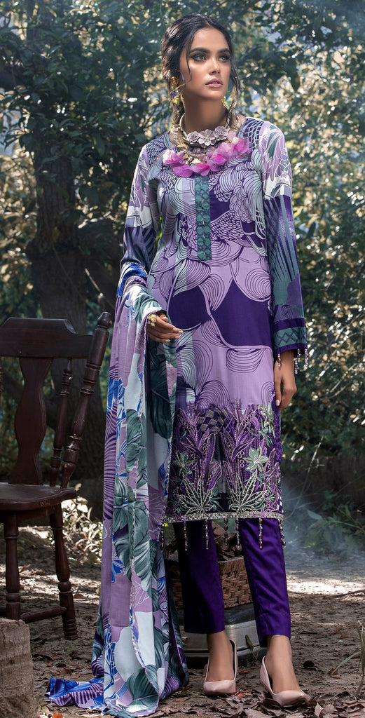 Stitched 3pc Printed Linen Embroidered Shirt with Printed Linen Dupatta (WK-381B)