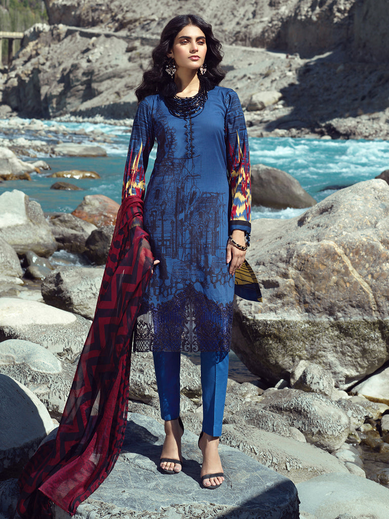 Unstitched 3pc Embroidered Cambric Shirt with Printed Chiffon Dupatta - Silkoria (RC-00187A)