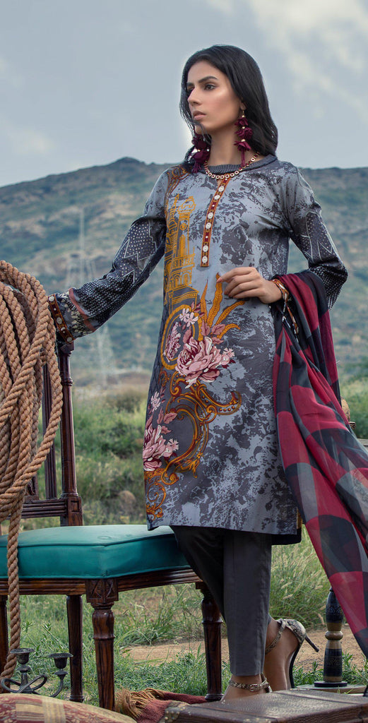 Stitched 3pc Printed Embroidered Cambric  Shirt with Printed Chiffon Dupatta (RC-178A)