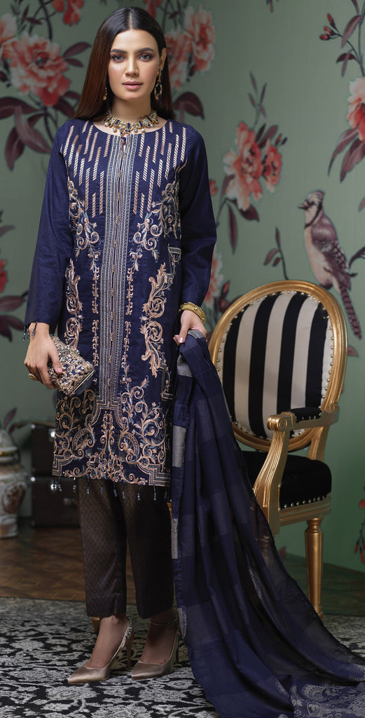 Jacquard heavy embroidered shirt  , Lawn jacquard dupatta & cambric jacquard trouser I 3pc Un-Stitched (WK-341)