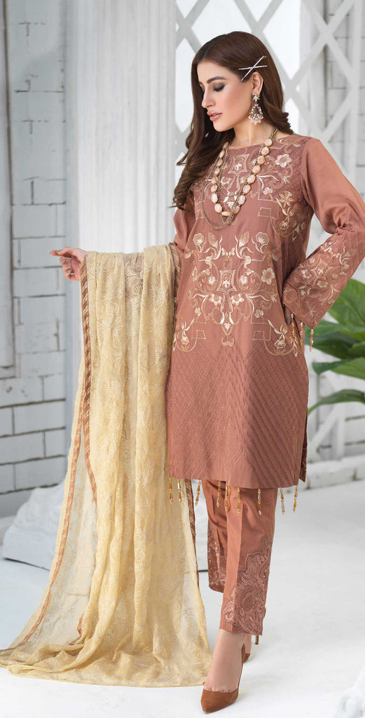Unstitched 3pc Luxury Embroidered Swiss Shirt with Embroidered Chiffon Dupatta and Trouser Bunches - Swiss(WK-356)