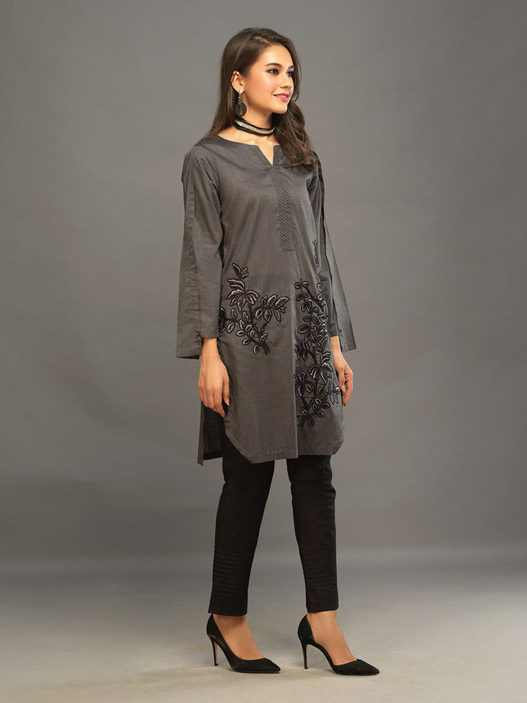 Sticthed 1pc Two Toned Kurti   - Casual Pret (CP-00026)