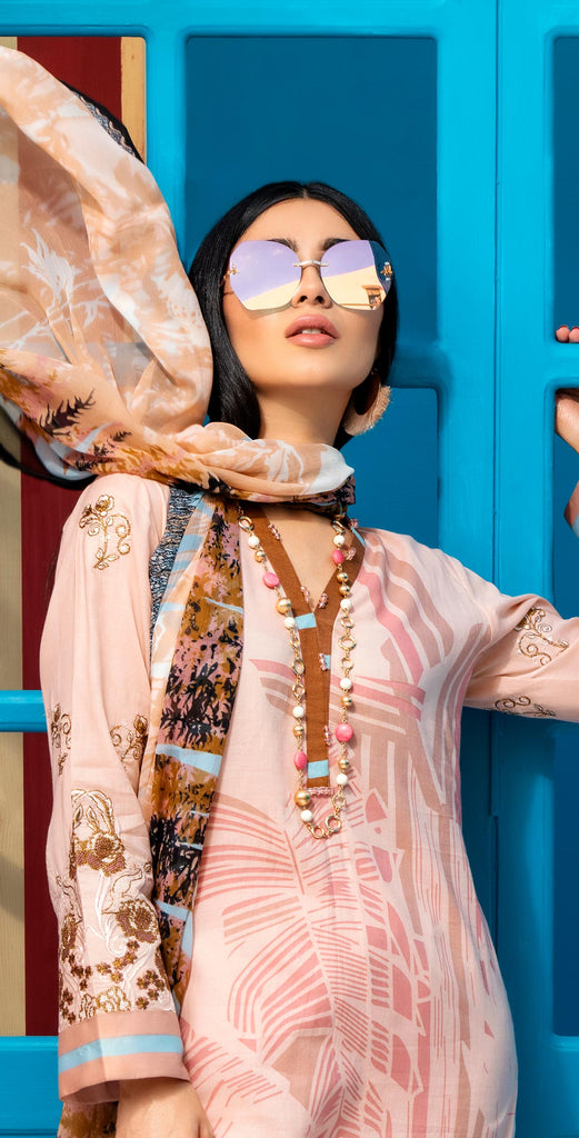 Unstitched 3pc Printed Embroidered Lawn Shirt with Printed  Chiffon  Dupatta - Zure  (WK-00524A)