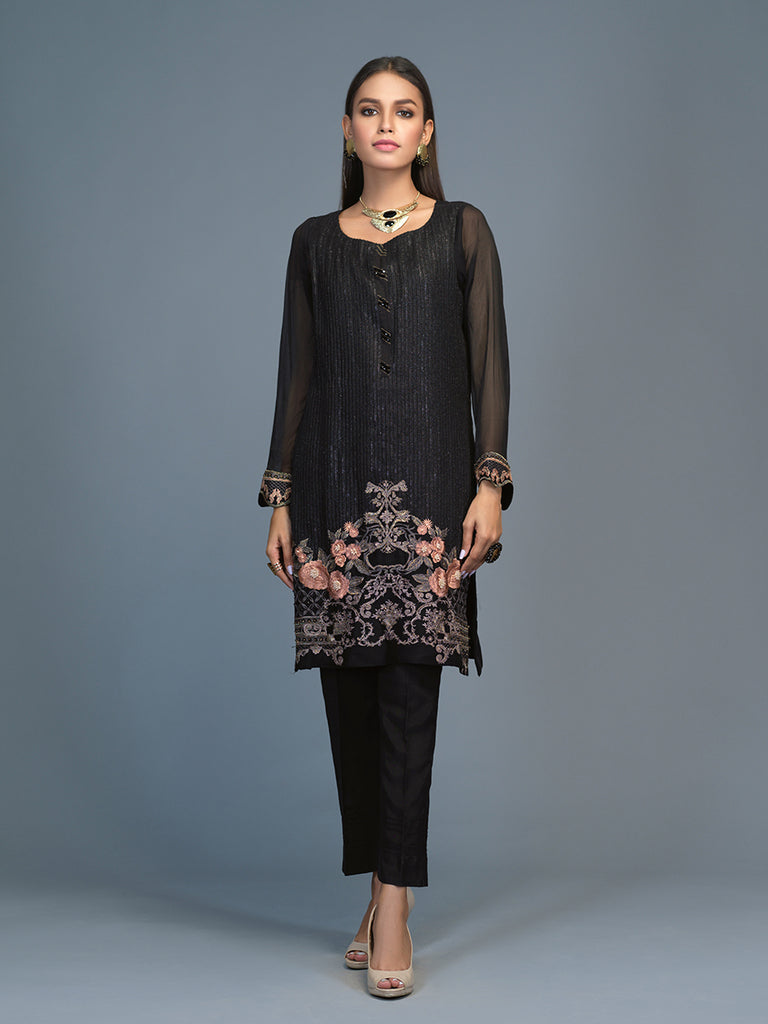 Jade-Stitched 2pc Embroidered  Chiffon Stitched Shirt  With Dyed Raw Silk Stitched Trouser- (PR-00024)