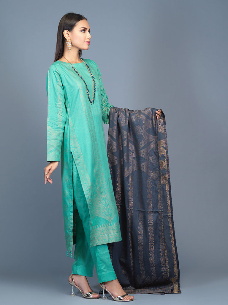 Unstitched 3pc Cambric Jacquard  Shirt with Cambric Jacquard  Dupatta - Jacquard classic (WK-00600)