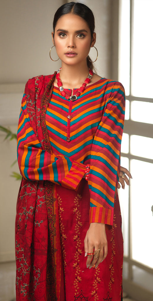 STITCHED 3pc Printed Embroidered Lawn Shirt with Printed Embroidered Chiffon  Dupatta - Fasutina (WK-00533A)