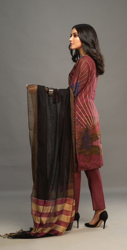 Unstitched 3pc Printed Embroidered Lawn Shirt with Woven Khaddi Dupatta - Shades (WK-00543A)