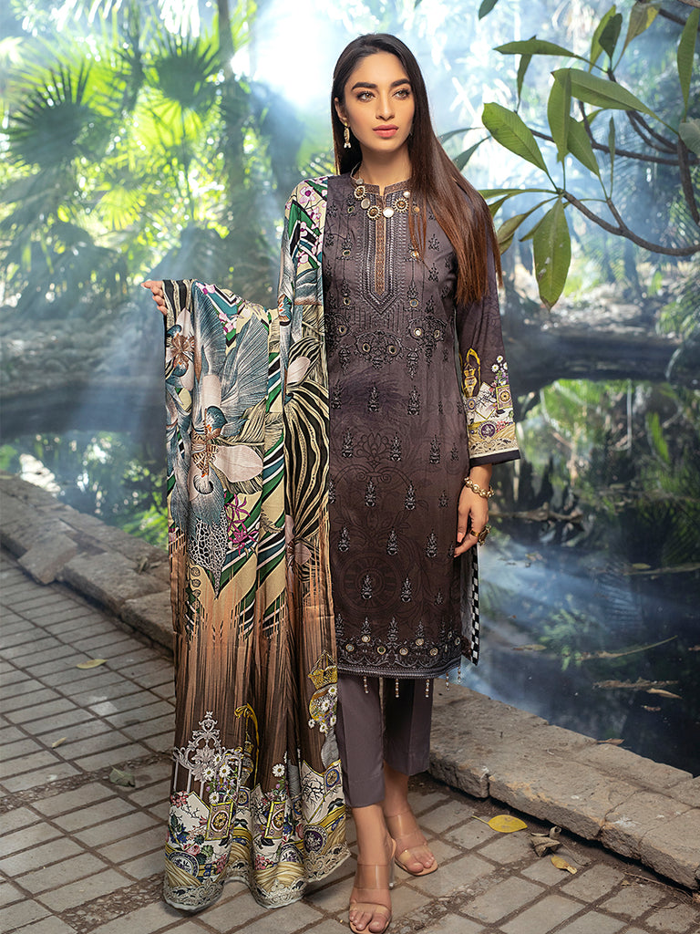 Granite Grey - Unstitched 3pc Linen Digital Printed Embroidered Shirt with Digital Printed Linen Dupatta & Linen Trouser.(WK-00620)