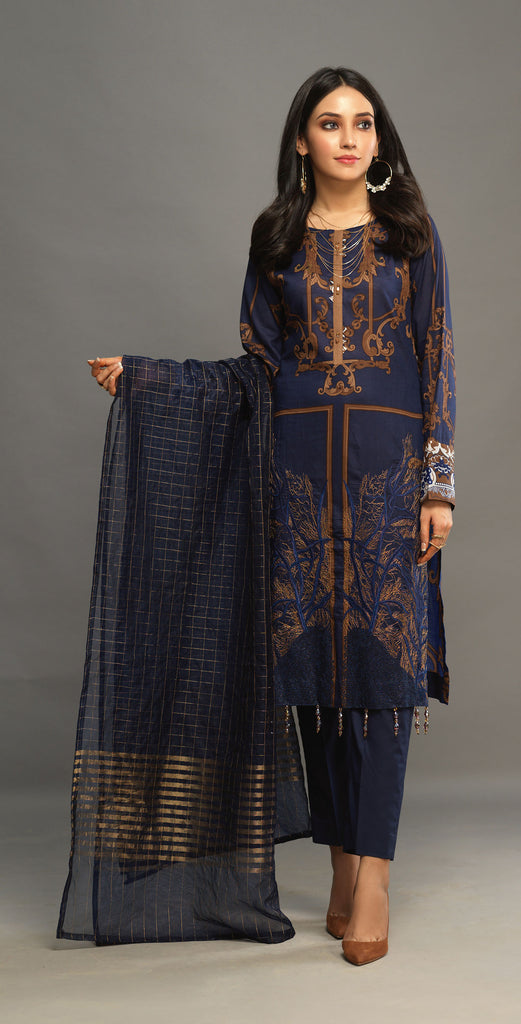 Stitched 3pc Printed Embroidered Lawn Shirt with Woven Khaddi Dupatta - Shades (WK-00544A)