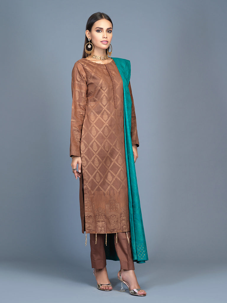 Unstitched 3pc Cambric Jacquard  Shirt with Cambric Jacquard  Dupatta - Jacquard classic (WK-00593)