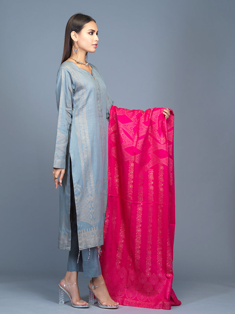 Unstitched 3pc Cambric Jacquard  Shirt with Cambric Jacquard  Dupatta - Jacquard classic (WK-00603)