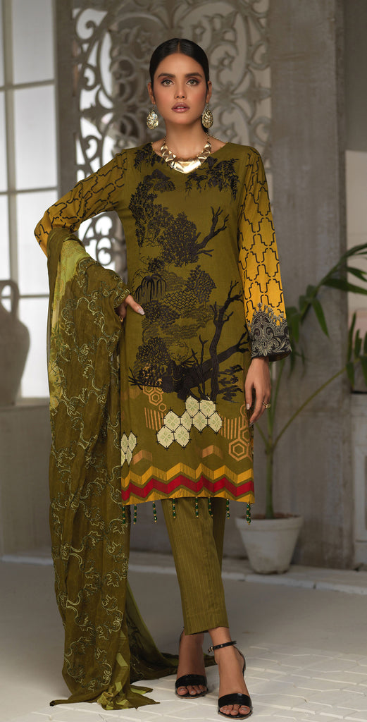 STITCHED 3pc Printed Embroidered Lawn Shirt with Printed Embroidered Chiffon  Dupatta - Fasutina (WK-00532A)