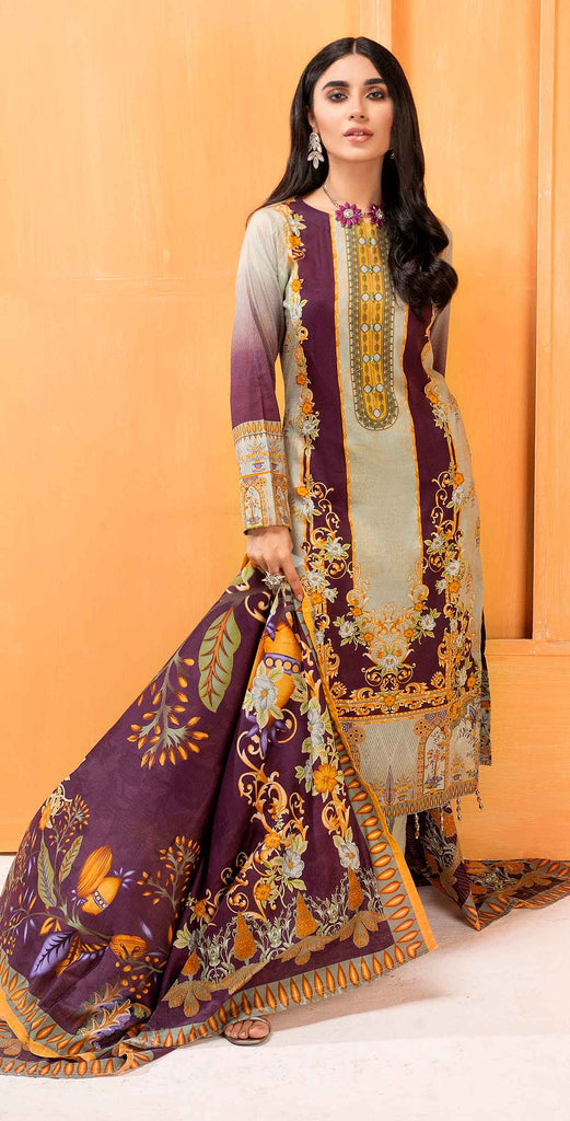 Unstitched 3pc Printed Lawn Shirt with Printed Lawn Dupatta - INAYA2 (IP-24A)
