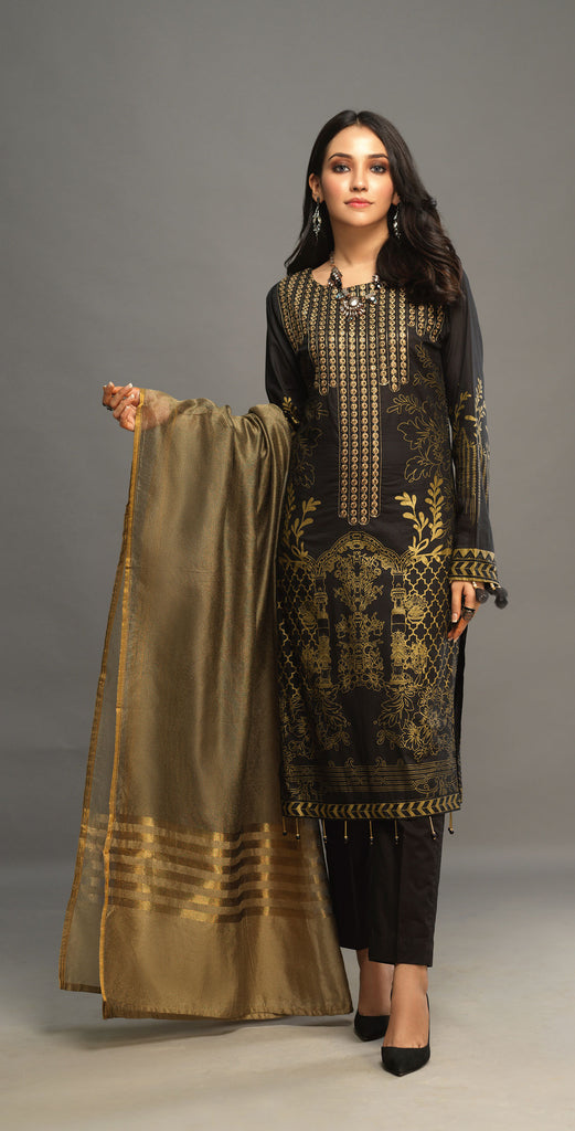 Stitched 3pc Printed Embroidered Lawn Shirt with Woven Khaddi Dupatta - Shades (WK-00545B)