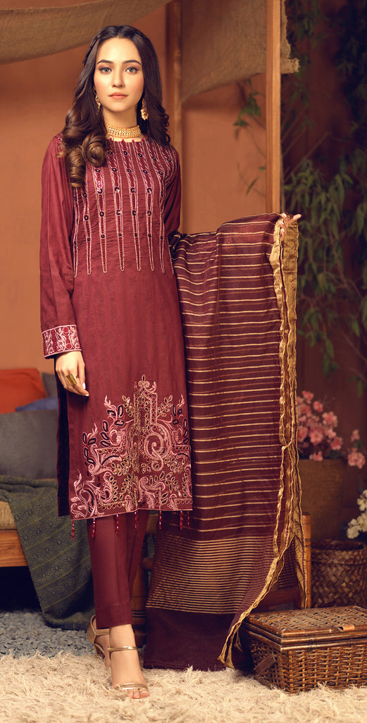 Sticthed 3pc Broshia Jacquard  Shirt with Embrodered  Front & Organza Dupatta  (WK-473)