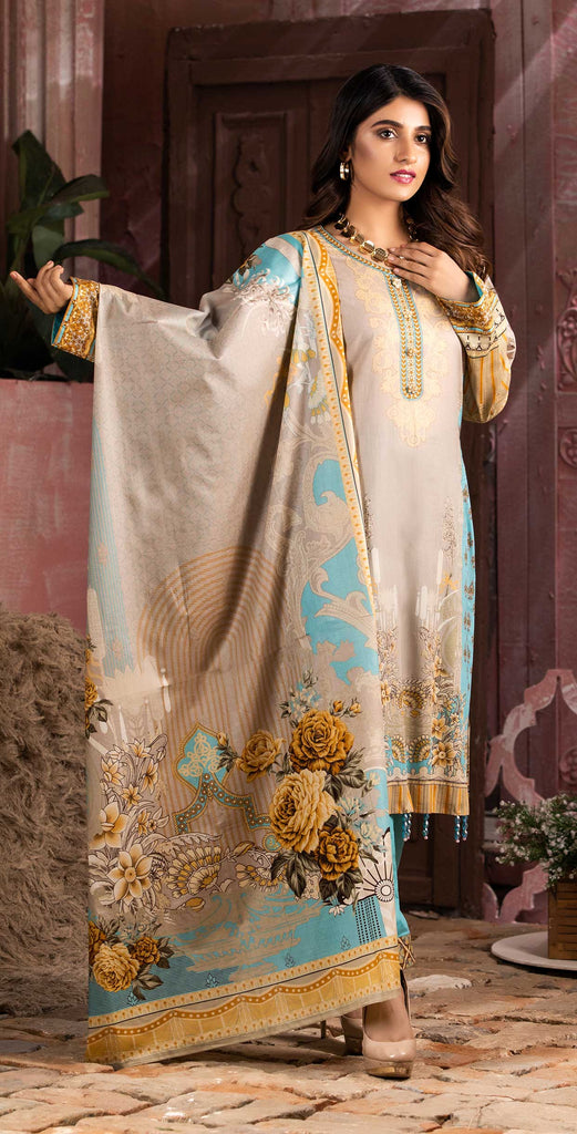 Unstitched 3pc Printed Lawn Shirt with Printed Lawn Dupatta - INAYA (IP-08B)