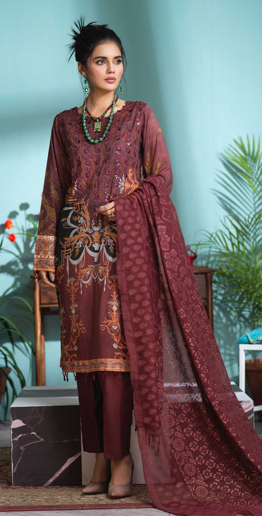 Unstitched 3pc Digital Printed Lawn Shirt with Embroidered Front  & Braso  Dupatta- Rococo (WK-324)