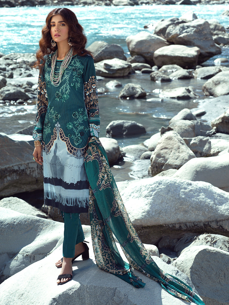 Unstitched 3pc Embroidered Cambric Shirt with Printed Chiffon Dupatta - Silkoria (RC-00189A)
