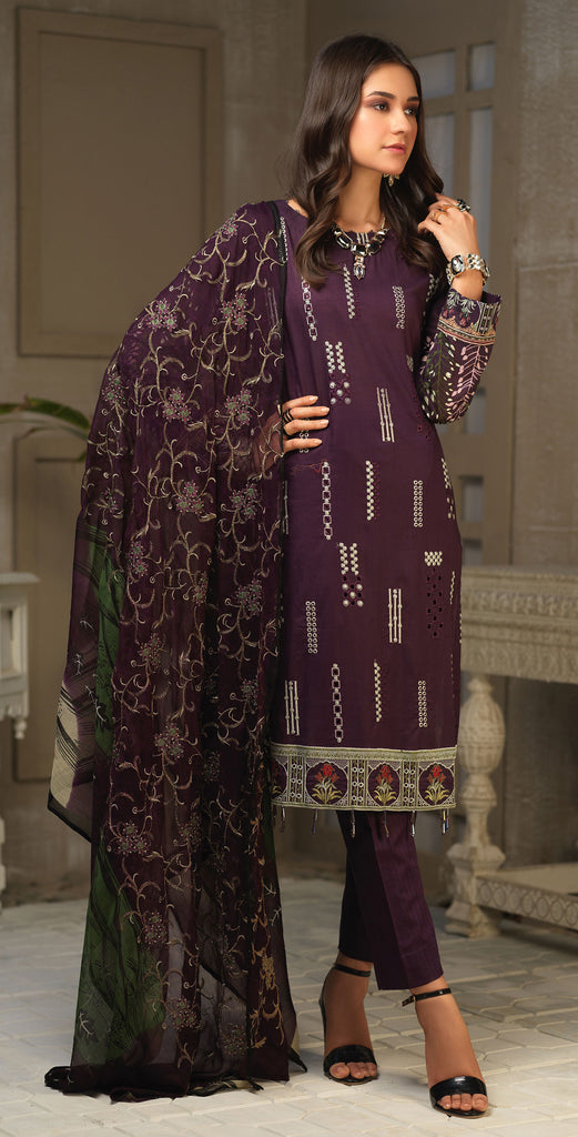 STITCHED 3pc Printed Embroidered Lawn Shirt with Printed Embroidered Chiffon  Dupatta - Fasutina (WK-00534A)