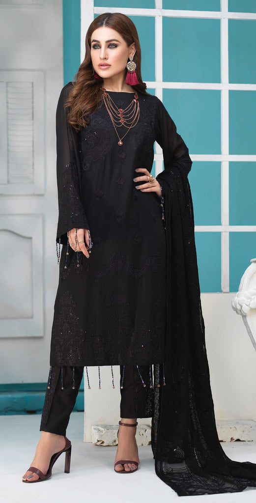 Unstitched 3pc Luxury Embroidered Swiss Shirt with Embroidered Chiffon Dupatta and Trouser Bunches - Swiss(WK-360)