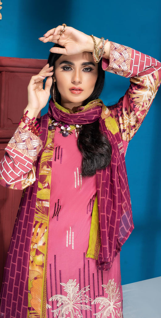 Stitched 3pc Printed Embroidered Lawn Shirt with Printed  Chiffon  Dupatta - Zure  (WK-00528B)
