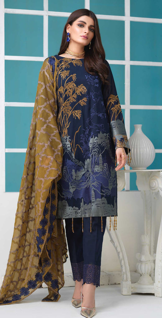 Unstitched 3pc Luxury Embroidered Swiss Shirt with Embroidered Chiffon Dupatta and Trouser Bunches - Swiss(WK-357)