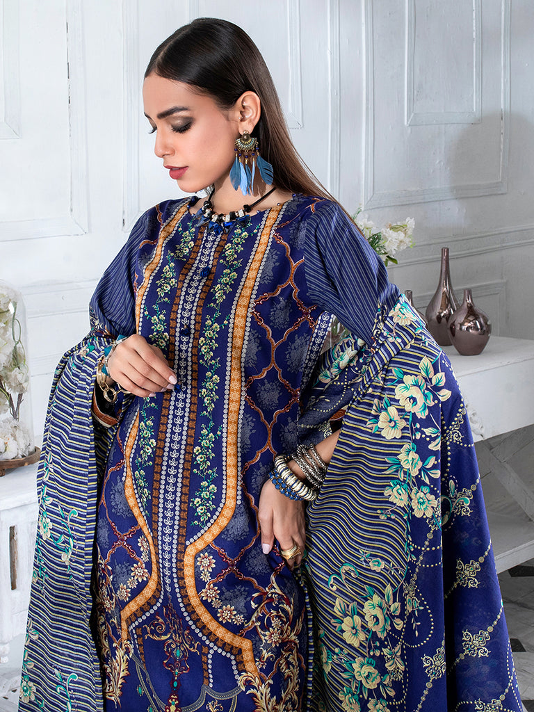 3pc Printed Cambric Shirt with Printed Lawn Dupatta & Cambric Trouser - Inaya (IP-00048B)