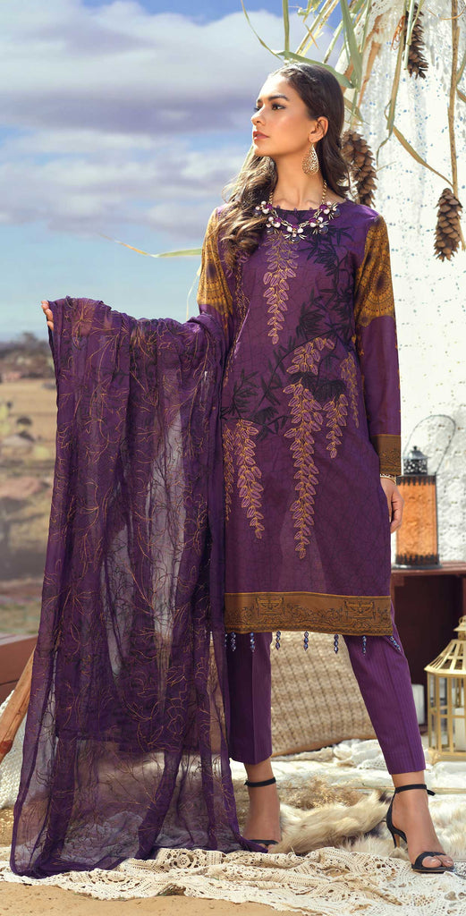Stitched 3pc Printed Lawn Embroidered Shirt with Printed  Embroidered Chiffon Dupatta - FAUSTINA (WK-500A)