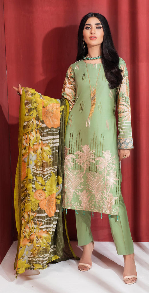 Unstitched 3pc Printed Embroidered Lawn Shirt with Printed  Chiffon  Dupatta - Zure  (WK-00528A)