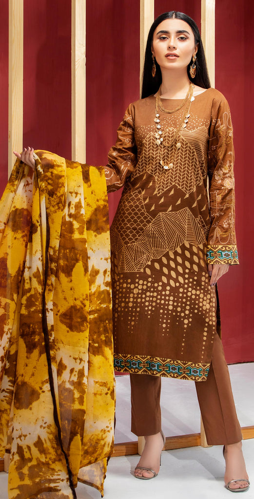 Stitched 3pc Printed Embroidered Lawn Shirt with Printed  Chiffon  Dupatta - Zure  (WK-00525B)