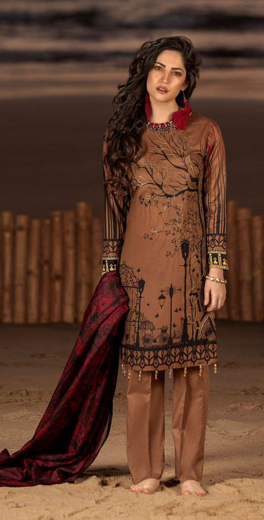Stitched 3pc Printed Embroidered Lawn Shirt with Fancy Printed Check Dupatta (WK-497B)
