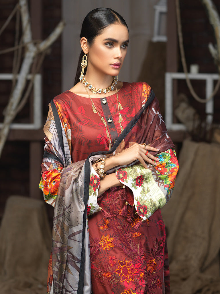 3pc Digital Cotton Satin  Embroidered  Shirt with Digital Tissue Silk Dupatta - CS (WK-00578)