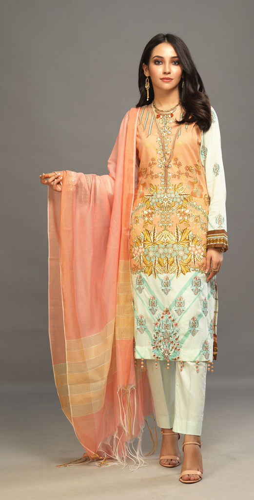 Unstitched 3pc Printed Embroidered Lawn Shirt with Woven Khaddi Dupatta - Shades (WK-00542B)