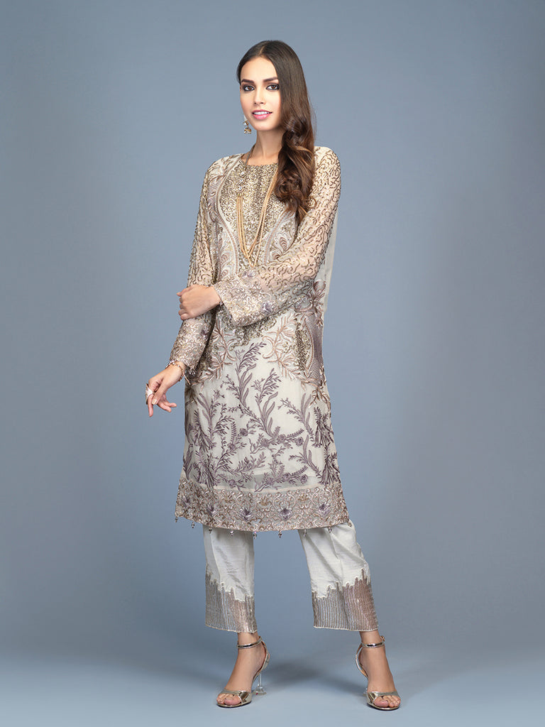 Glorious- Stitched 2pc Embroidered  Chiffon Stitched Shirt  With Dyed Raw Silk Stitched  Trouser- (PR-00026)