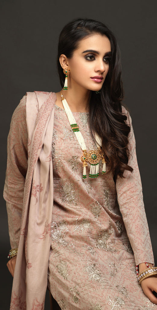 Unstitched 3pc Embroidered Lawn Jacquard Shirt with Lawn Jacquard Dupatta (WK-491)
