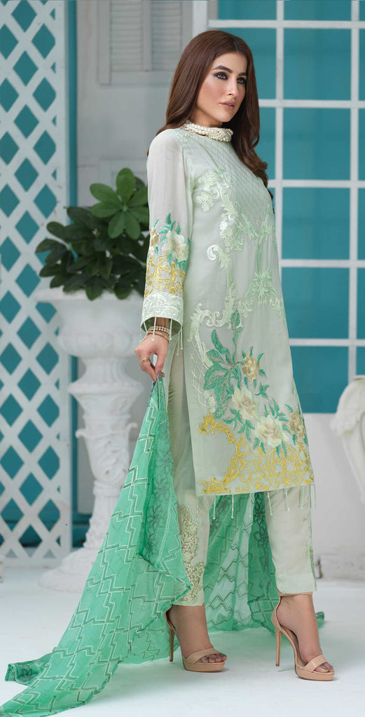 Unstitched 3pc Luxury Embroidered Swiss Shirt with Embroidered Chiffon Dupatta and Trouser Bunches - Swiss(WK-354)