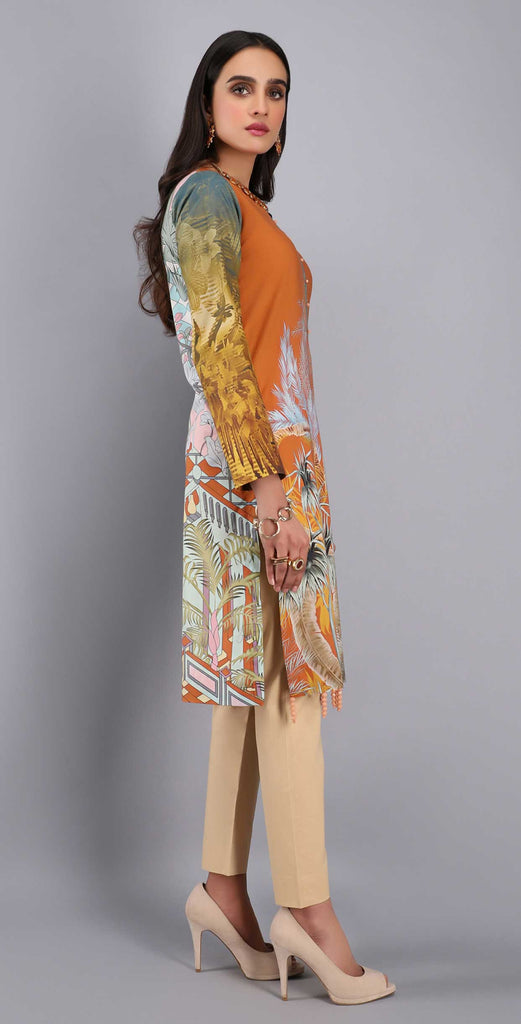 Unstitched 1pc Digital Printed Lawn Shirt - UK-04