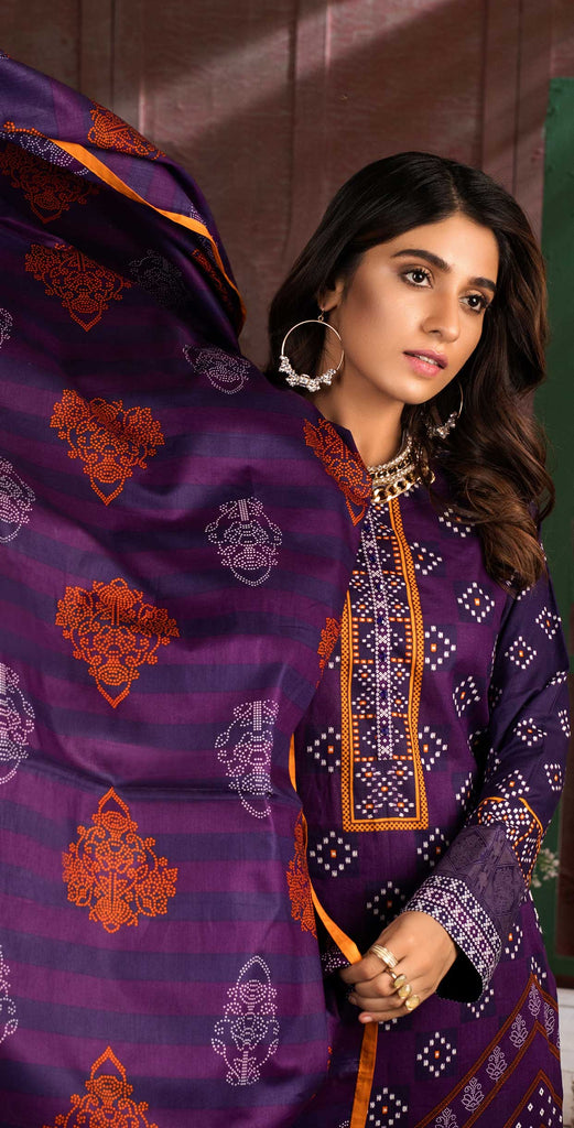 Unstitched 3pc Printed Lawn Shirt with Printed Lawn Dupatta - INAYA (IP-03B)