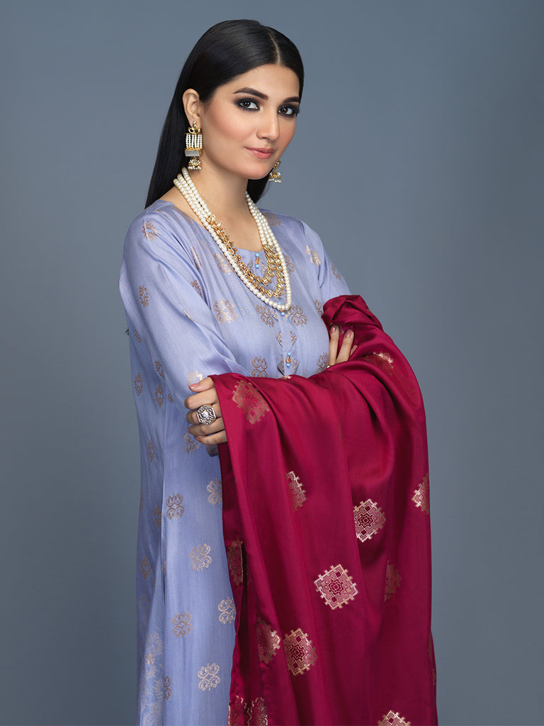 Unstitched 3pc Viscose Jacquard  Shirt and  Dupatta with vicose trouser-  Viscose Jacquard (Rc-00214)