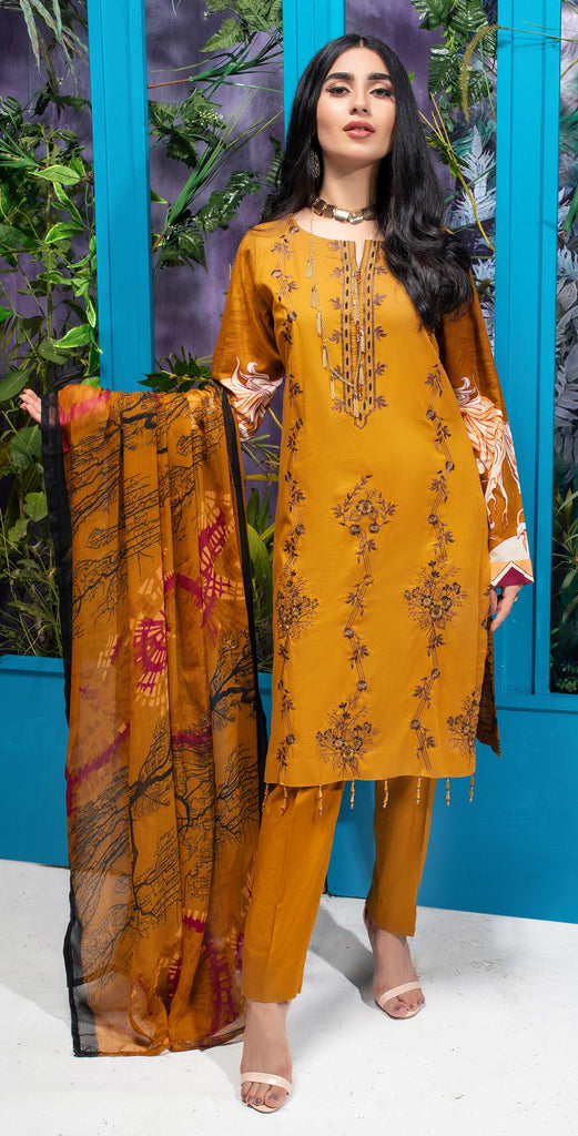 Unstitched 3pc Printed Embroidered Lawn Shirt with Printed  Chiffon  Dupatta - Zure  (WK-00527B)